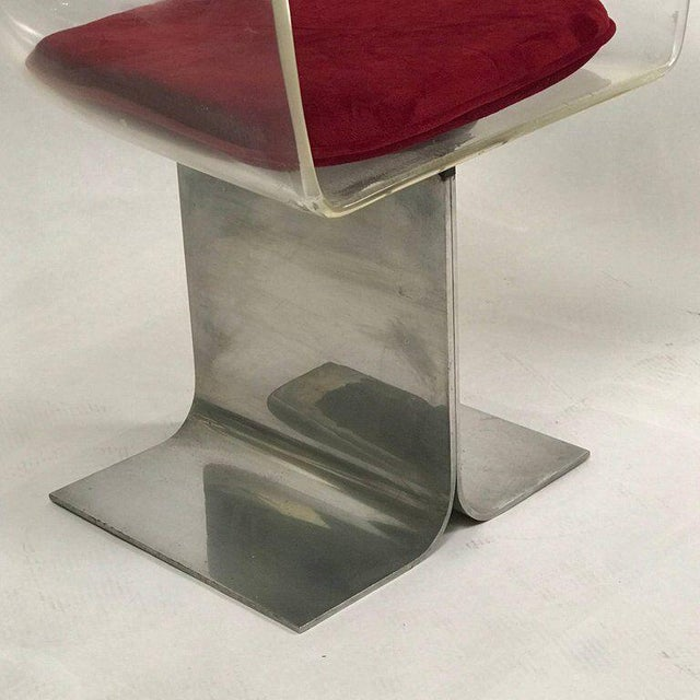 Pair of Pace Lucite & Aluminum Dining or Conference Swivel Chairs by i.m. Rosen For Sale - Image 11 of 13