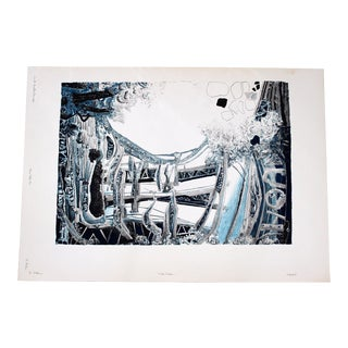 Mid Century Modern Blue Abstract Print Lithograph Signed Numbered Roland Poska For Sale
