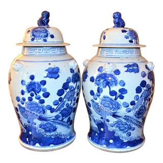 Chinoiserie Large White & Blue Baluster Temple / Ginger Jars - a Pair For Sale