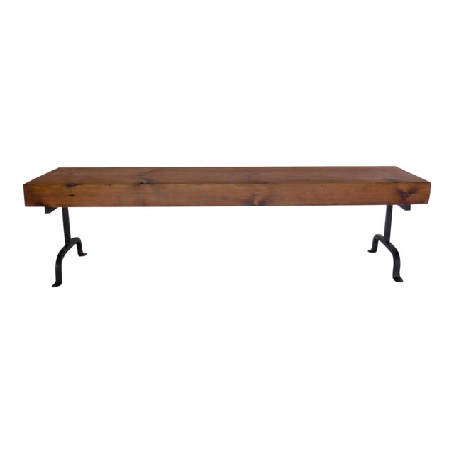 Custom Rustic Wood and Iron Bench - Image 1 of 6