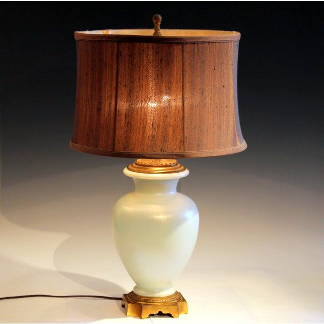 Antique Steuben Glass Ivrene Aurene Iridescent Vase Lamp Art Deco Gilt Bronze For Sale - Image 11 of 11