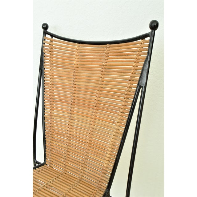 Ficks & Reed Mid-Century Organic Modern Bamboo & Rod Iron Chair Pencil Reed Rattan Albini Weinberg Style -- Tropical Boho Chic Mid Century Modern MCM For Sale In Miami - Image 6 of 11