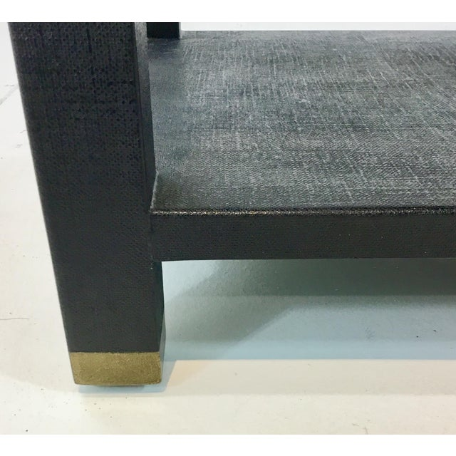 Modern Made Goods Navey Linen Side Table For Sale - Image 3 of 5