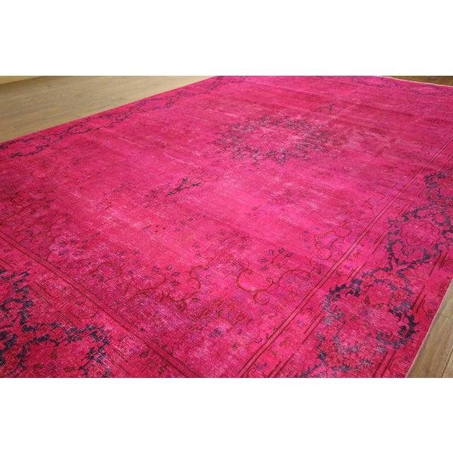 """Pink Overdyed Oriental Floral Rug - 9'6"""" x 14'10"""" - Image 4 of 10"""