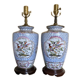 Late 20th Century Blue White Chinese Bird Porcelain Vase Table Lamps- a Pair For Sale