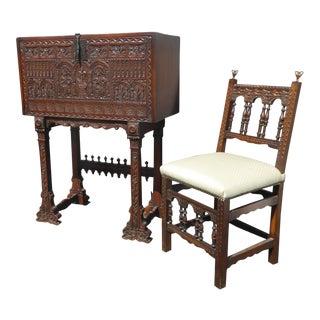 Antique Spanish Revival Ornately Carved Secretary Desk & Chair Set For Sale