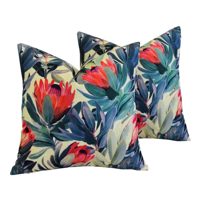 "18"" Colorful Tropical Protea Floral Feather/Down Pillows - a Pair - Image 1 of 11"