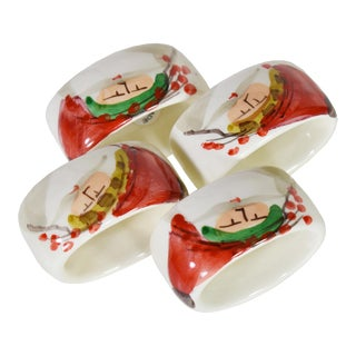 Vintage Italian Hand Painted Santa Christmas Holidays Napkin Rings Holder - Set of 4 For Sale