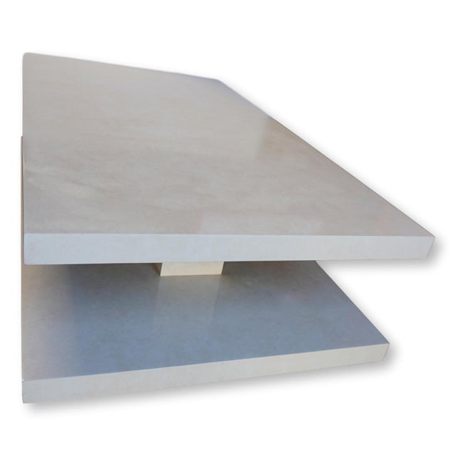 Modern Two Tiered Faux Alabaster Coffee Table For Sale In San Diego - Image 6 of 12