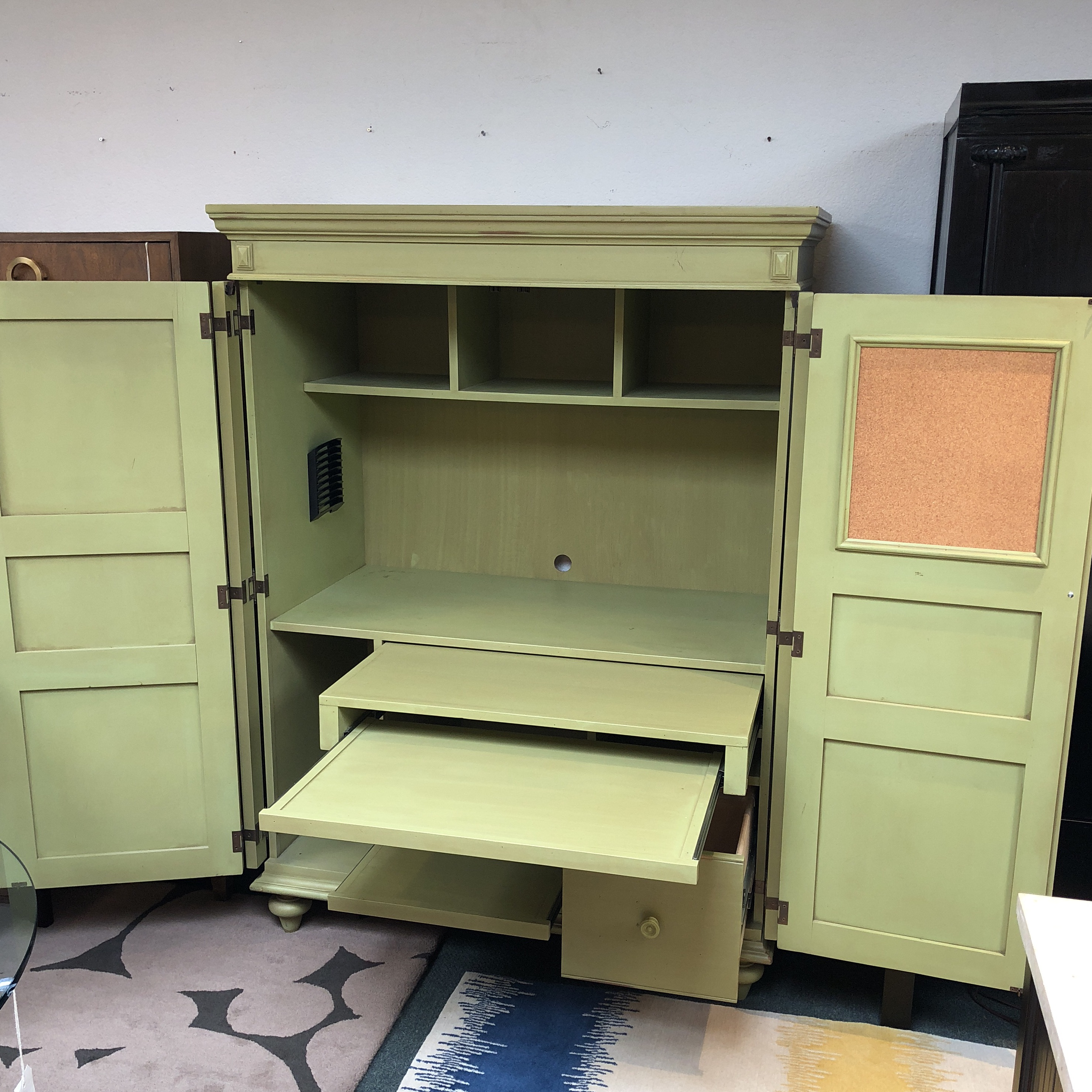 Superbe Distressed Green Painted Wood Computer Armoire   Image 4 Of 11