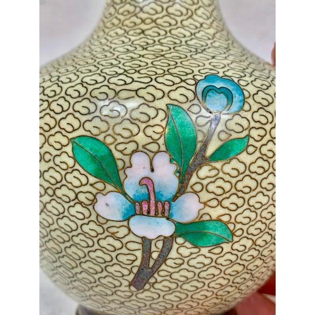 Vintage Floral Cloisonne Vase For Sale In New Orleans - Image 6 of 10