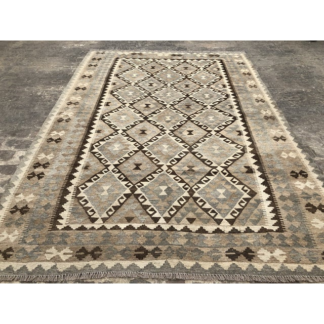 Afghan Nomad's Afghan Chobi Kilim Rug - 6′9″ × 9′9″ For Sale - Image 3 of 9