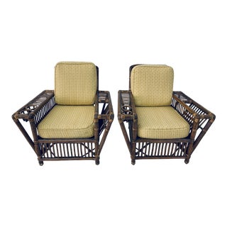 Palecek Rattan Lounge Chairs With Upholstered Cushions - a Pair For Sale