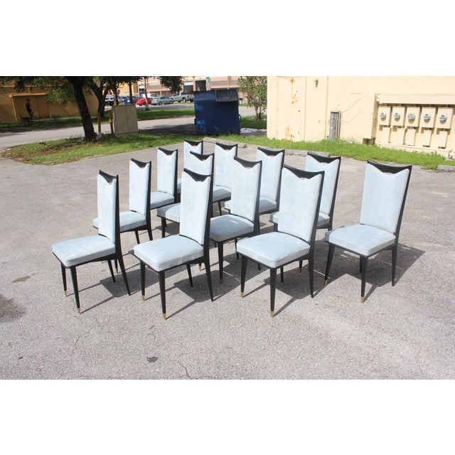 1940s Monumental Set of 12 French Art Deco Dining Chairs, Circa 1940s For Sale - Image 5 of 13