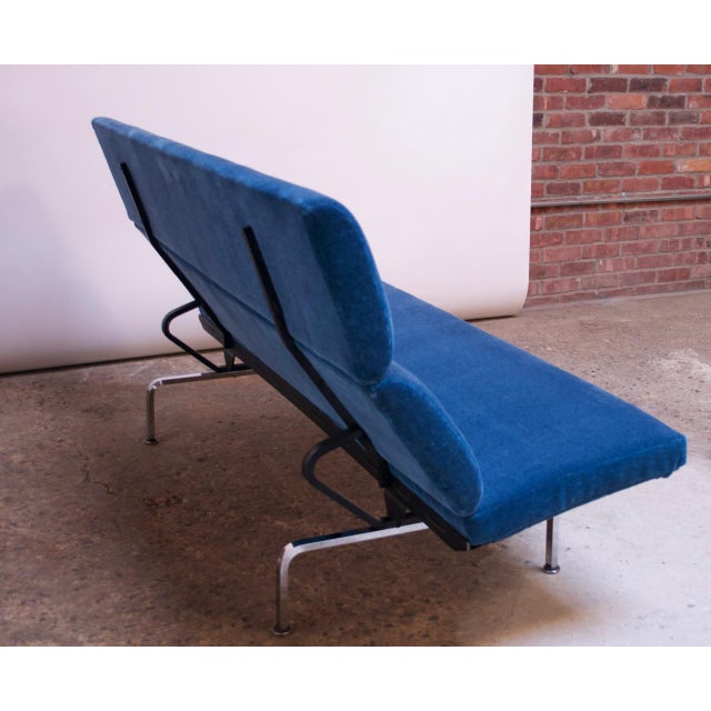 Charles and Ray Eames for Herman Miller Chromed-Steel and Mohair Compact Sofa For Sale In New York - Image 6 of 13