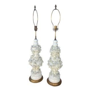 Antique Blanc De China Porcelain Lamps With Raised Flowers - A Pair For Sale
