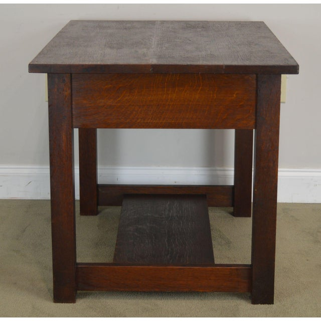 1900 - 1909 Mission Oak Antique One Drawer Table Writing Desk Possibly Stickley For Sale - Image 5 of 13
