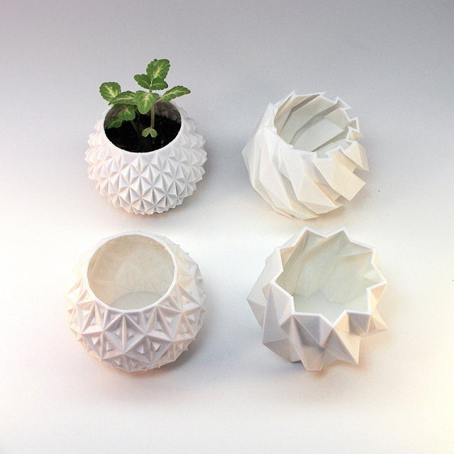 Contemporary Small White Geometric Planters - Set of 4 For Sale - Image 3 of 4