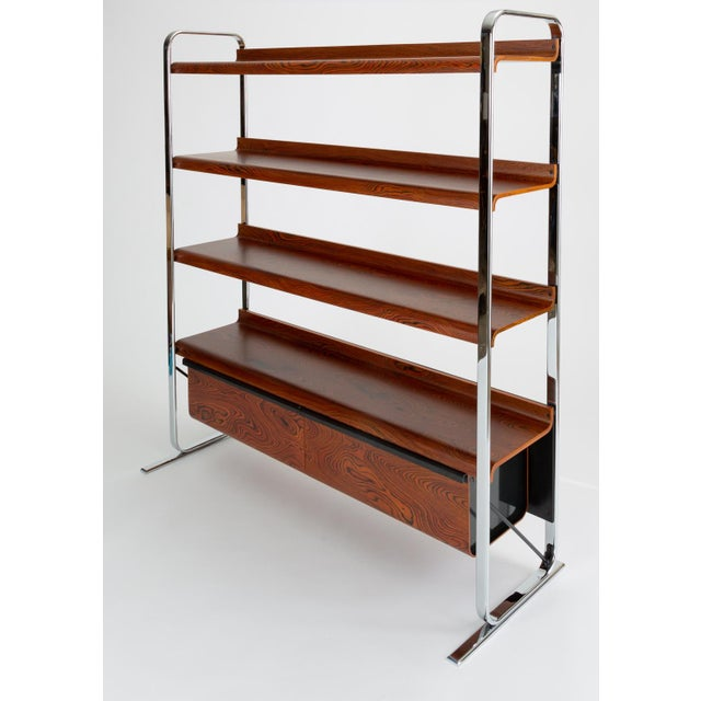 A combination shelving unit for books and storage from Peter Protzmann's Tubular collection for Herman Miller....