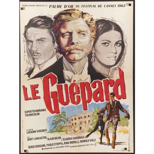Original, vintage French poster for the 1963 epic 'The Leopard'. Directed by Luchino Visconti, the film stars Alain Delon,...