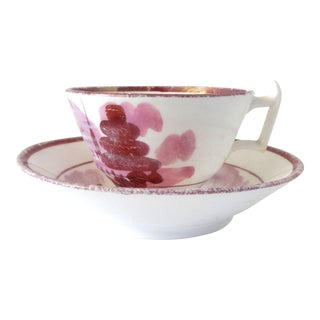 Antique Early 19th Century Georgian Pink Luster Teacup and Saucer For Sale