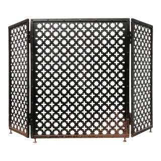 Mid-Century Iron Folding Fireplace Screen With Moroccan Star Fretwork For Sale