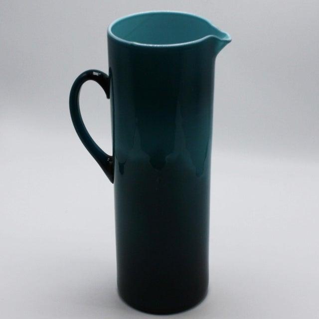 Moretti Empoli teal cased glass pitcher, c. 1960
