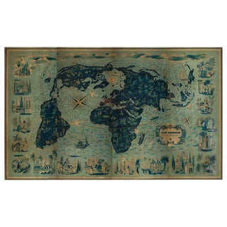 Four Reproduction Vintage Panels of Air France World Map For Sale