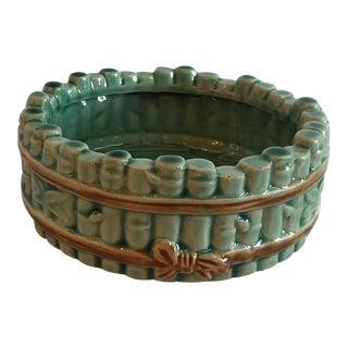 Vintage Mid Century Ceramic Bamboo Planter For Sale
