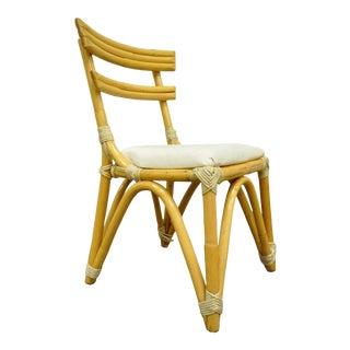 Vintage Mid Century Modern Hollywood Regency Bamboo Rattan Desk Side Chair C