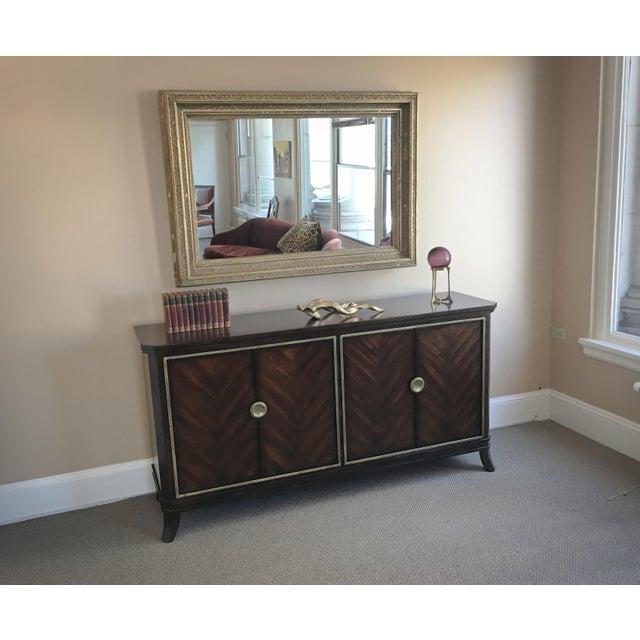 Sleek Funky Herringbone Wooden Sideboard For Sale - Image 9 of 9