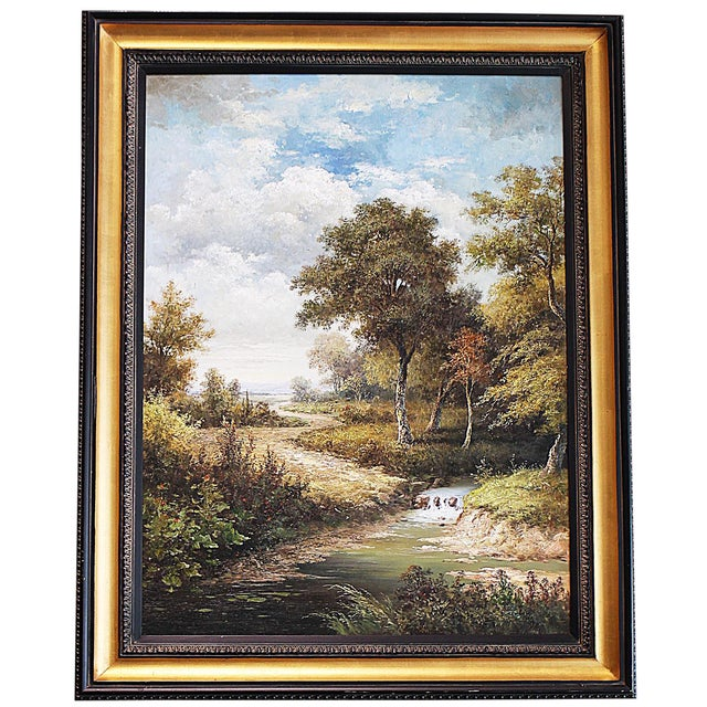 Large Country Stream Painting For Sale