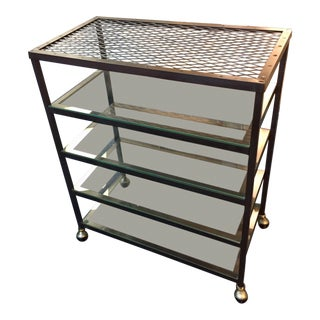 1950s Vintage Metal and Glass Industrial Rolling Shelves For Sale
