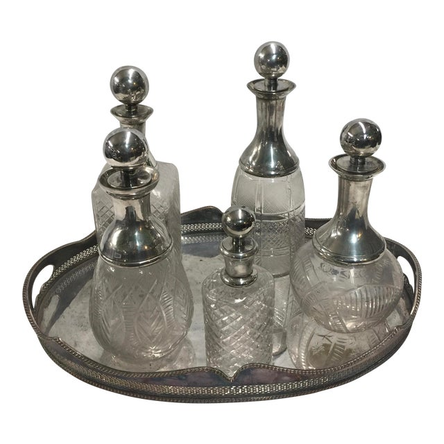 5 Cut Crystal Silverplate Bottles and Tray For Sale