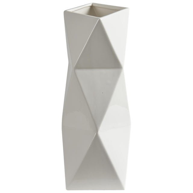 Melville Glossy White Decorative Vase For Sale - Image 4 of 4