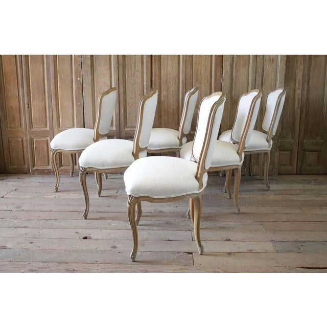 French Set of Six Wood Louis XV Style Dining Chairs in Natural Belgian Linen For Sale - Image 3 of 11