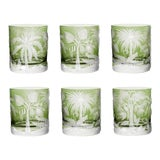 Image of ARTEL Primeval Palms Double Old Fashioned Glass in Khaki Green - Set of 6 For Sale