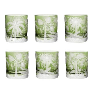 ARTEL Primeval Palms Double Old Fashioned Glass in Khaki Green - Set of 6 For Sale