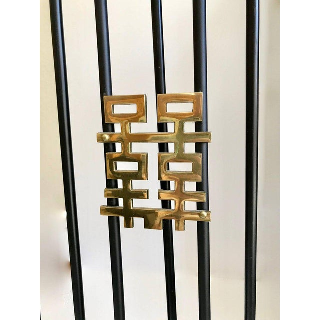 Asian Asian Modern Brass and Iron Fireplace Tool Set For Sale - Image 3 of 13