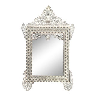 1990s Mother of Pearl Inlaid White Mirror For Sale