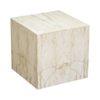 Italian Travertine Cube Pedestal Side Table