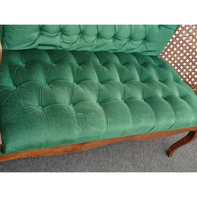 Vintage French Country Tufted Green Velvet Settee Loveseat W Cane #2 For Sale In Los Angeles - Image 6 of 13