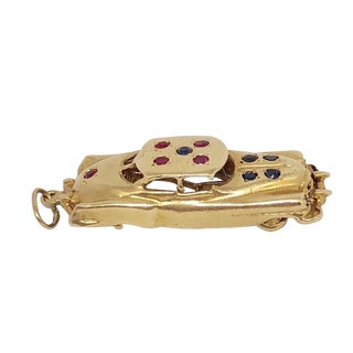 1950s Vintage 14k Gold Rubies Sapphires Automobile Car Charm For Sale