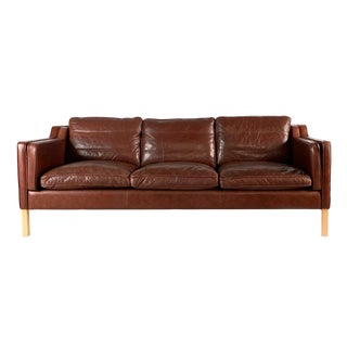 Vintage Danish Brown Leather 3-Seat Sofa For Sale