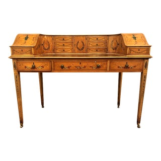 Estate English Painted Satinwood Carlton House Writing Desk. For Sale