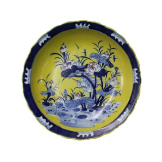 Chinese Porcelain Blue Yellow Lotus Flower Pond Decor Plate Charger For Sale