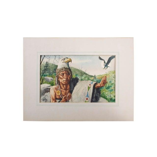 Original William Sauts Netamuxwe Bock Watercolor For Sale