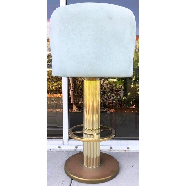 Blue Design For Leisure Brass Bar Stools - Set of 5 For Sale - Image 8 of 9