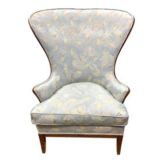 Carved Wingback Chair With New Upholstery For Sale