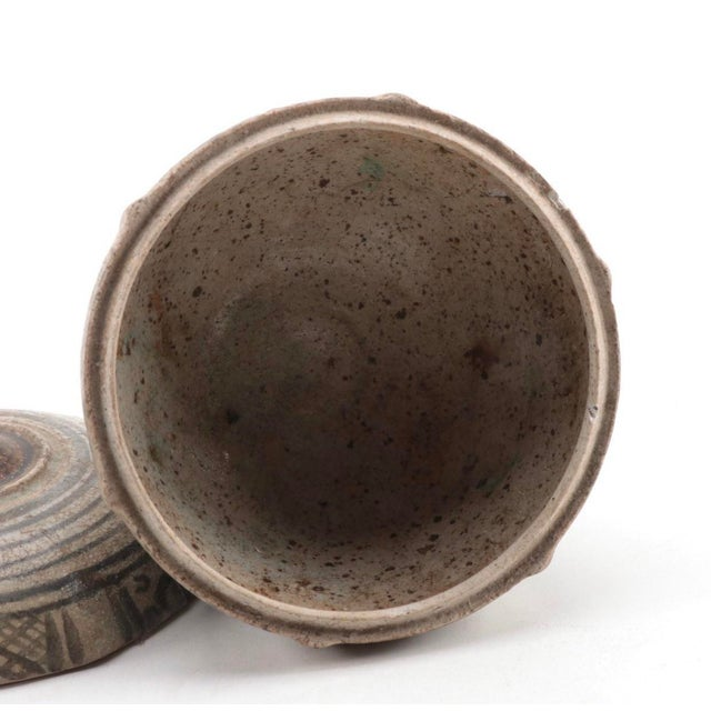 Asian Antique Thai Sawankhalok Covered Earthenware Jar 14th/15th C. For Sale - Image 3 of 5